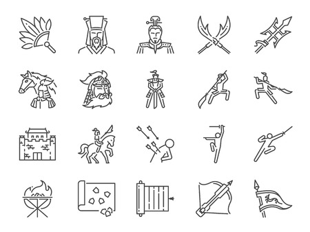 Chinese ancient war line icon set. Included the icons as military, soldier, battle, weapon, fight and more. Stock Illustratie
