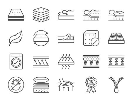 Zestaw ikon linii materaca. Zawiera ikony jako zmywalne pokrycie, oddychające, piankę z pamięcią kształtu, pościel, podkładkę i wiele innych.