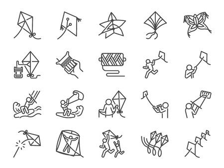 Jeu d'icônes de ligne de cerf-volant. Inclus les icônes comme pilote, kitesurf, kitesurf, jeu, plusieurs cerfs-volants et plus encore. Vecteurs