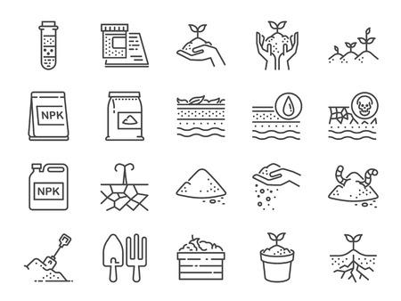 Jeu d'icônes de ligne de sol. Inclus les icônes comme terre, compost, terre, terre, sol et plus encore.