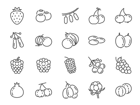 Wild berry line icon set. Included the icons as blueberry, cranberry, raspberry, strawberry, cherry and more. Stock Illustratie