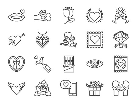 Valentine's day line icon set. Included the icons as Valentine, love, cupid, heart, couple, relationship, dating and more.