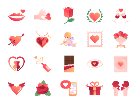 Valentine's day colors icon set. Included the icons as Valentine, love, cupid, heart, couple, relationship, dating and more.