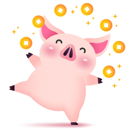 Little happy rich piggy character for Chinese new year. 2019 Year of the pig. Stock Illustratie