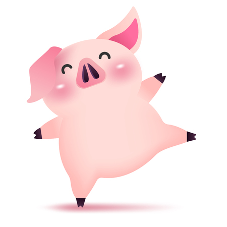 Little happy piggy dancing character for Chinese new year. 2019 Year of the pig.