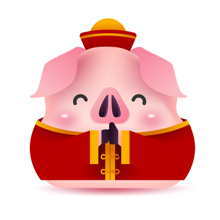 Little piggy greeting character for Chinese new year. 2019 Year of the pig.