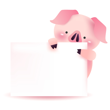 Cute pig character with blank signboard. 2019 Chinese New Year.