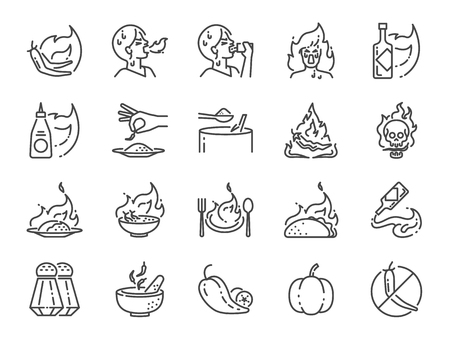Spicy line icon set. Included the icons as Tom yum kung, Chili, Ghost pepper, seasoning, flavor, hot and more.