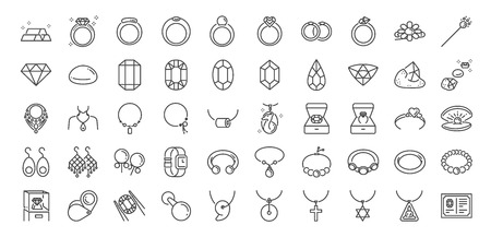50 Jewelry line icon set. Included icons as gems, gemstones, jewel, accessories, ring and more. Stock Illustratie