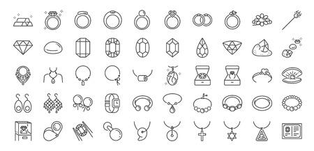 50 Schmucklinie Symbolsatz. Enthaltene Symbole wie Edelsteine, Edelsteine, Juwelen, Accessoires, Ringe und mehr. Vektorgrafik