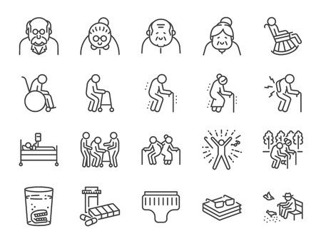 Conjunto de iconos de línea de anciano. Se incluyen íconos como personas mayores, envejecimiento, salud, personas mayores, vida y más.