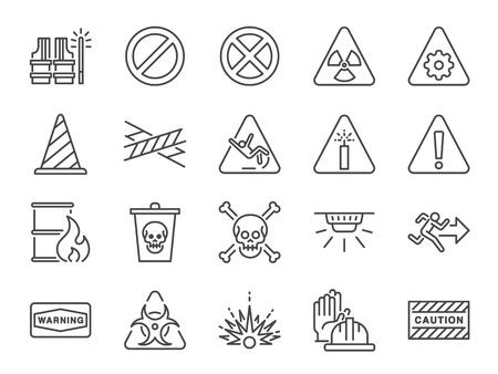 Alert line icon set. Included icons as warning, caution, danger, alarm, notice and more.