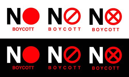 Boycott red sign on black and white background. Stock Illustratie