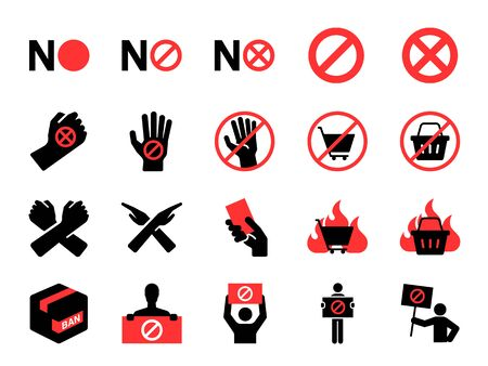 Boycott icon set. Included icons as protest, ban, no, reject, protester, forbidden and more.