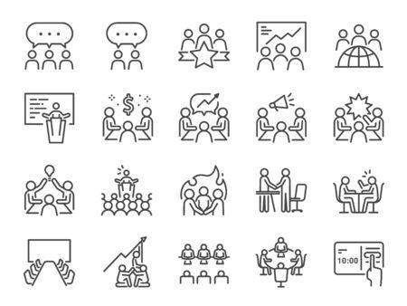 Insieme dell'icona della linea di riunione. Icone incluse come sala riunioni, team, lavoro di squadra, presentazione, idea, brainstorming e altro.