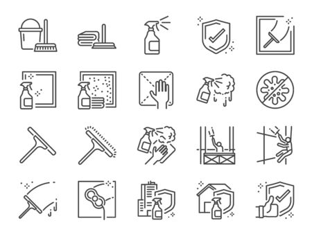 Window Cleaning line icon set. Included icons as cleaner services, clean, career, job, occupancy, Window sponge and more. Иллюстрация