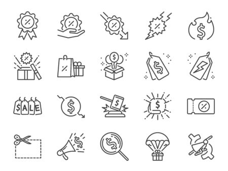 Discount line icon set. Included icons as Sale, Shopping, percent, promotion, badge, clearance and more. Stock Illustratie