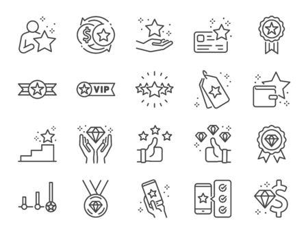 Jeu d'icônes de ligne de programme de redevances. Icônes incluses en tant que membre, VIP, exclusif, diamant, badge, haut niveau et plus encore.