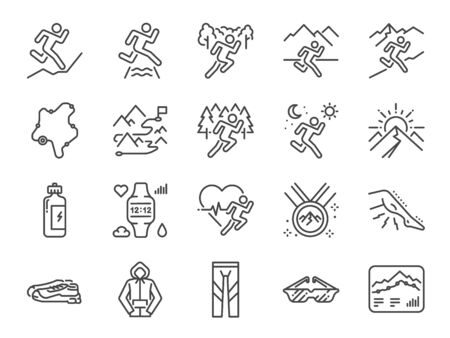 Trail running line icon set. Included icons as runner, sport, healthy, mountain course, marathon and more. Ilustração