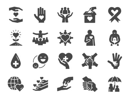 Charity icon set. Included icons as kind, care, help, share, good, support and more. Illustration