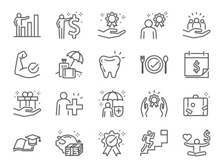 Employees benefits line icon set. Included icons as Teamwork, people relationship, Growth chart, staff perks, insurance and more. Ilustração