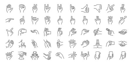 Hand gestures line icon set. Included icons as fingers interaction,  pinky swear, forefinger point, greeting, pinch, hand washing and more. Ilustração