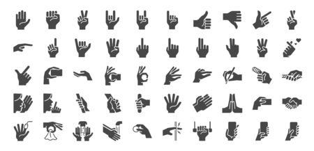 Hand gestures icon set. Included icons as fingers interaction,  pinky swear, forefinger point, greeting, pinch, hand washing and more.