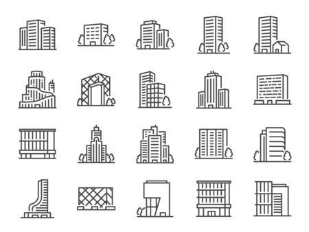 Building line icon set. Included icons as cityscape, architecture, dwelling, Skyscraper, structure and more.