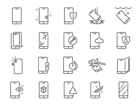 Conjunto de iconos de línea de protección de smartphone. Incluye iconos como teléfono móvil de ciudad, filtro, protector de pantalla, resistente al agua, calidad y más.