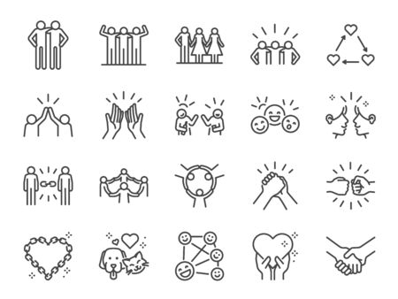 Friendship line icon set. Included icons as friend, relationship, buddy, greeting, love, care and more. 版權商用圖片 - 132184725