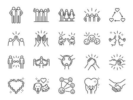 Zestaw ikon linii przyjaźni. Zawiera ikony, takie jak przyjaciel, związek, kumpel, powitanie, miłość, opieka i inne. Ilustracje wektorowe