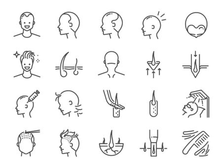 Hair Transplantation line icon set. Included icons as Hair Transplant, hair loss, hair follicles, FUE, FUT, alopecia and more.