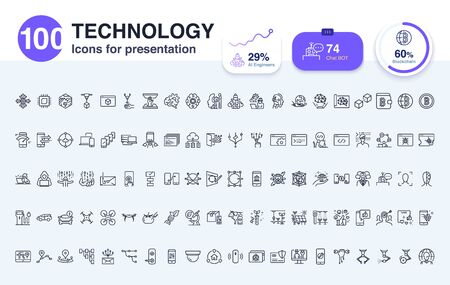 100 Technology line icon for presentation. Make presentations slide visually consistent design.