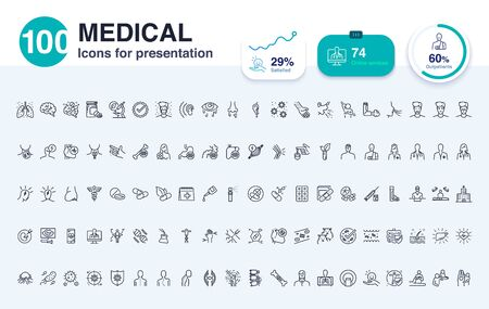 100 Medical line icon for presentation. Enhance presentations slide with good visuals. 矢量图像