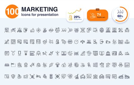 100 Marketing line icon for presentation. The effective way to visualize abstract concepts and ideas engaging the audience with powerful slides.