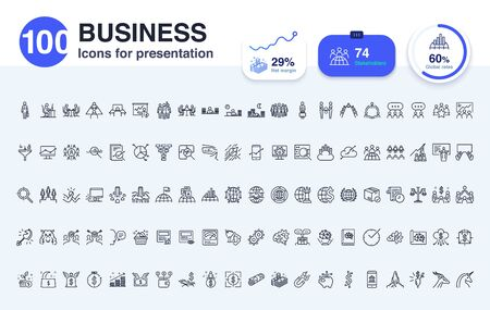 100 Business line icon for presentation. Enrich your slide with icons to accentuate the main points.