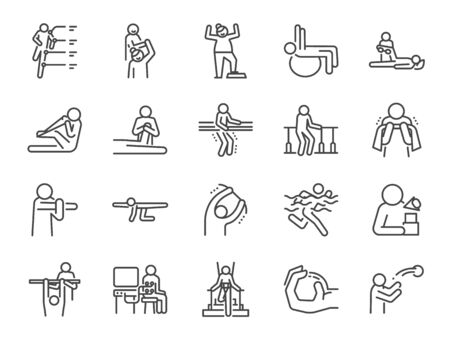 Rehabilitation line icon set. Included icons as recovery, Physical therapy, Nursing Home, therapist, hospital, physiology and more.