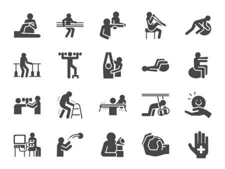 Rehabilitation icon set. Included icons as recovery, Physical therapy, Nursing Home, therapist, hospital, physiology and more. Stock Illustratie