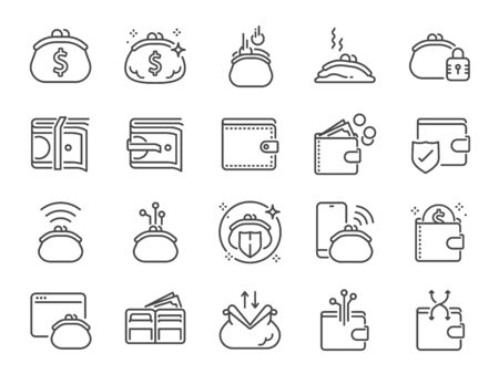 Wallet line icon set. Included icons as e-wallet, cryptocurrency, digital wallet, money, coins, bank and more.