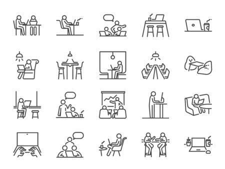 Co-Working-Space-Linie-Icon-Set. Enthaltene Symbole als Mitarbeiter, Coworking, gemeinsame Nutzung von Büro, Geschäft, Firma, Arbeit und mehr.