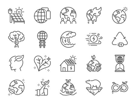 Ecology line icon set. Included icons as eco product, clean energy, renewable power, recycle, reusable, go green and more. Stock Illustratie
