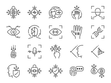 Biometric line icon set. Included icons as bio security, fingerprint scan, retina scan, face recognition, voice recognition, password and more.