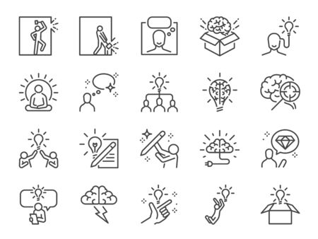 Idea line icon set. Included icons as thinking, creative, ideation, brain, light bulb, think out of the box and more. Stock Illustratie