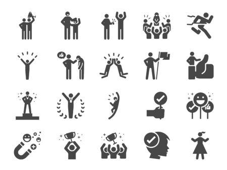 Gelobte und zufriedene Linie Symbolsatz. Enthaltene Symbole wie positives Denken, Gewinner, stolz, glücklich, Menschen, bewundern und mehr. Vektorgrafik