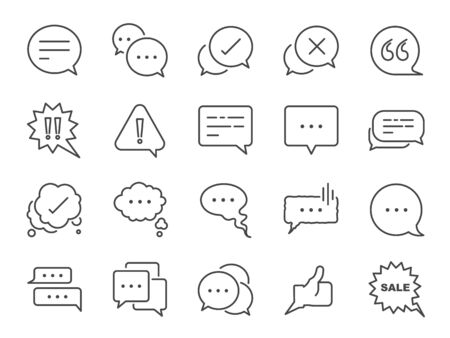 Chat and quote line icon set. Included icons as Bubble, talk, Social media message, discuss, speech, comment and more. Stock Illustratie