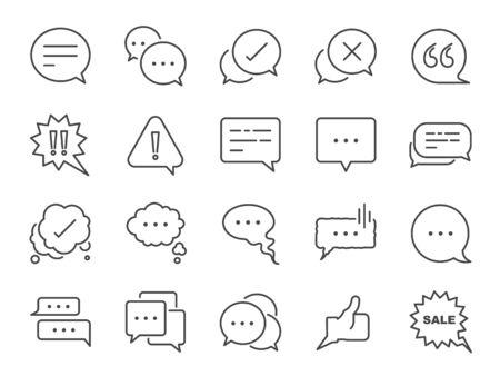 Chat en offerte lijn icon set. Inbegrepen iconen als Bubble, talk, social media message, discuss, speech, comment en meer.