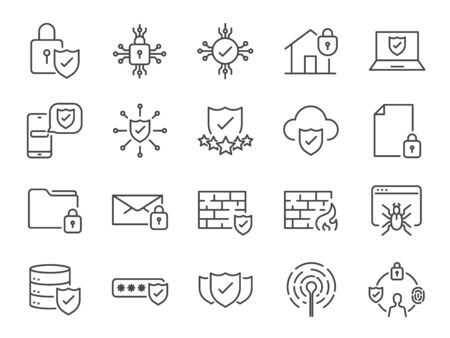 Security line icons. Included icons as cyber lock, password, unlock, guard, shield, home security system, firewall and more.