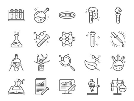Chemistry lab icon set. Included icons as Chemical, formula, Medical analysis, Laboratory test flask, experiment and more. Stock Illustratie