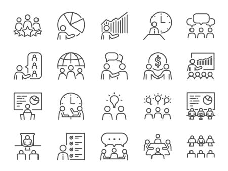 Meeting line icon set. Included icons as seminar, classroom, team, conference, work, meeting room and more.