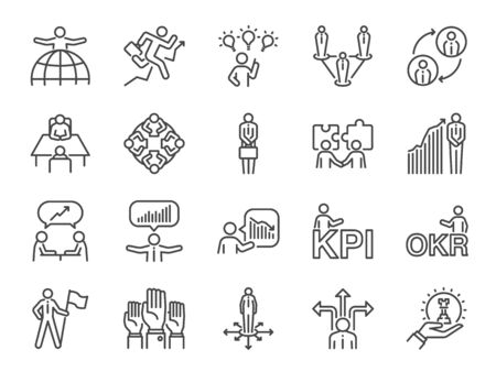 Business people icon set. Included icons as group, team, people, conference, leader, management and more. Stock Illustratie